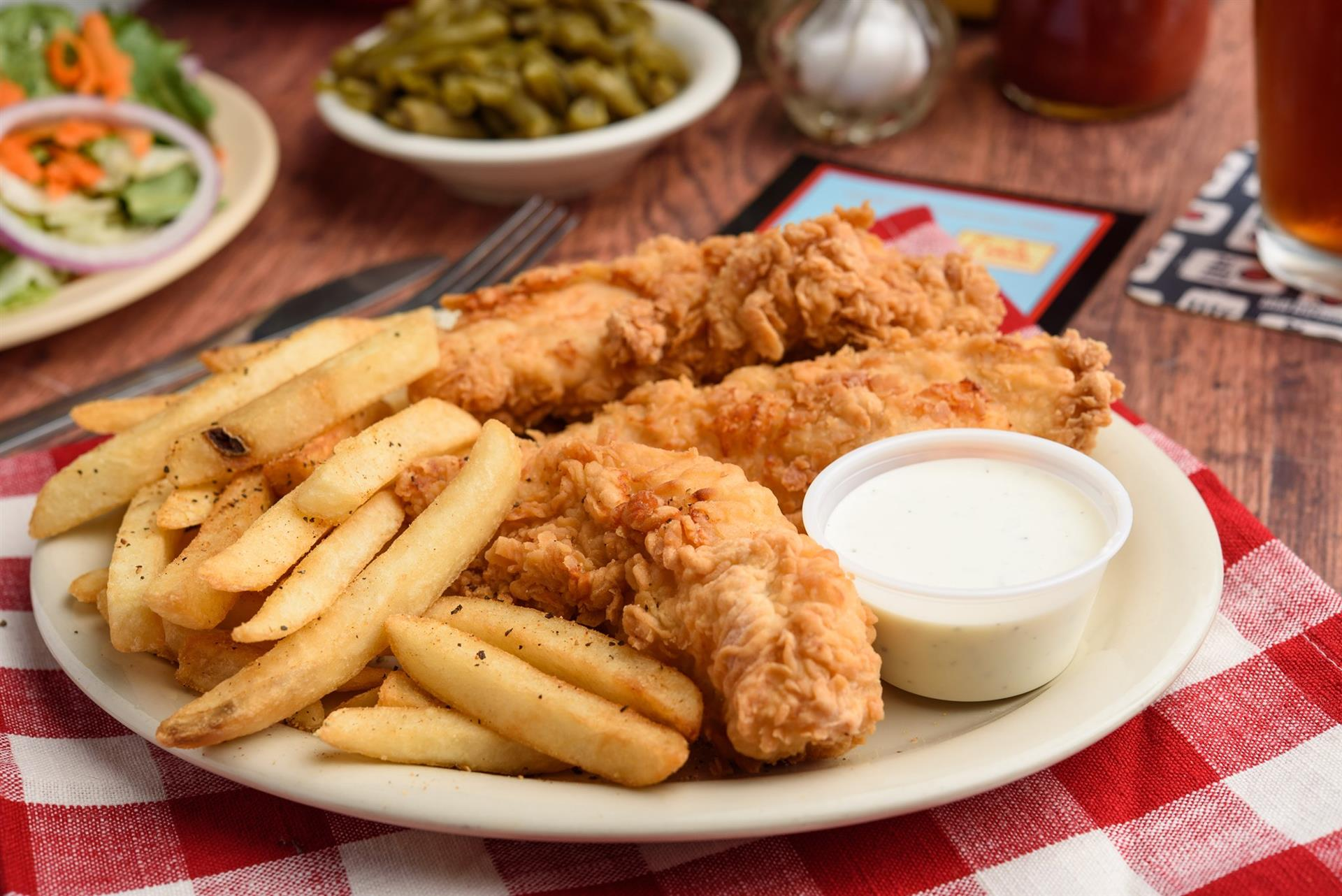 Chicken Fingers and Fries with dipping sauce