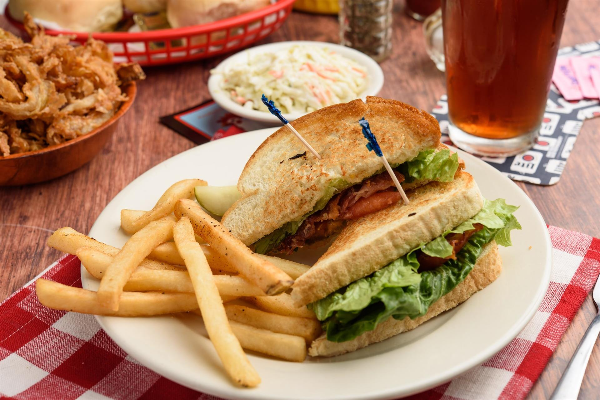 blt sandwich with a side of fries