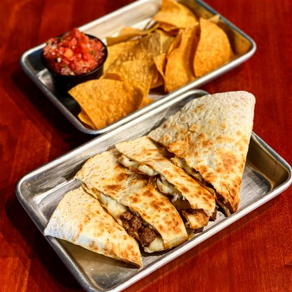quesadilla with chips and salsa