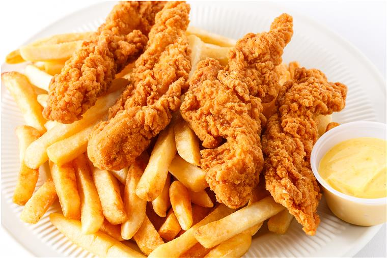 chicken fingers and french fries with honey mustard