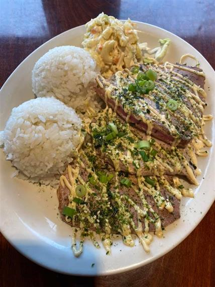 seared tuna with two scoops of white rice
