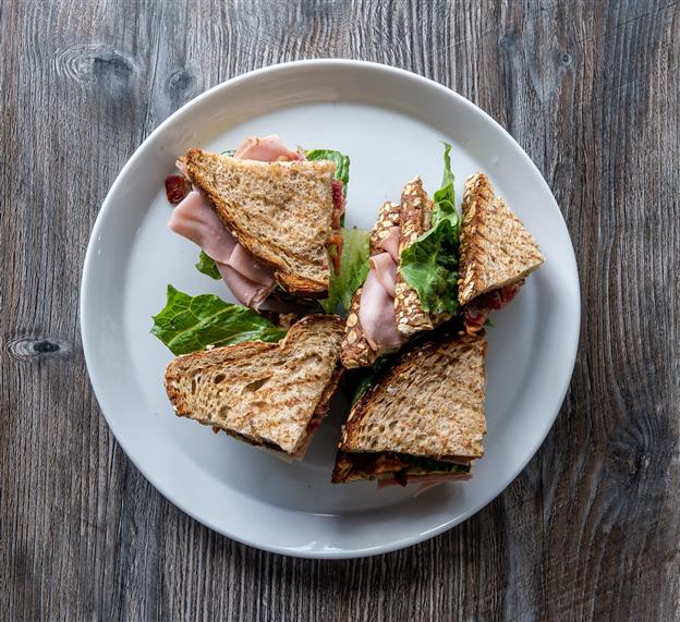 sandwich with meat and lettuce