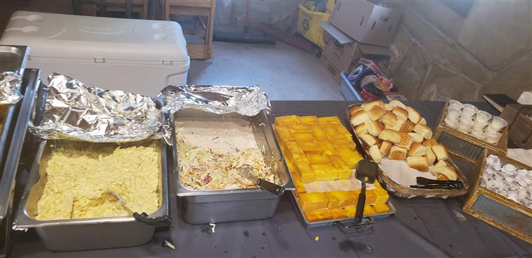 trays of catered food