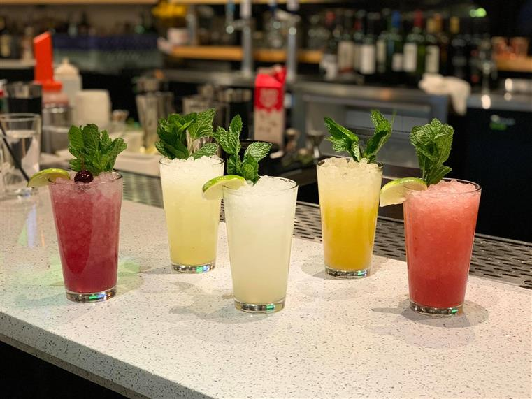 assorted cocktails on the bar