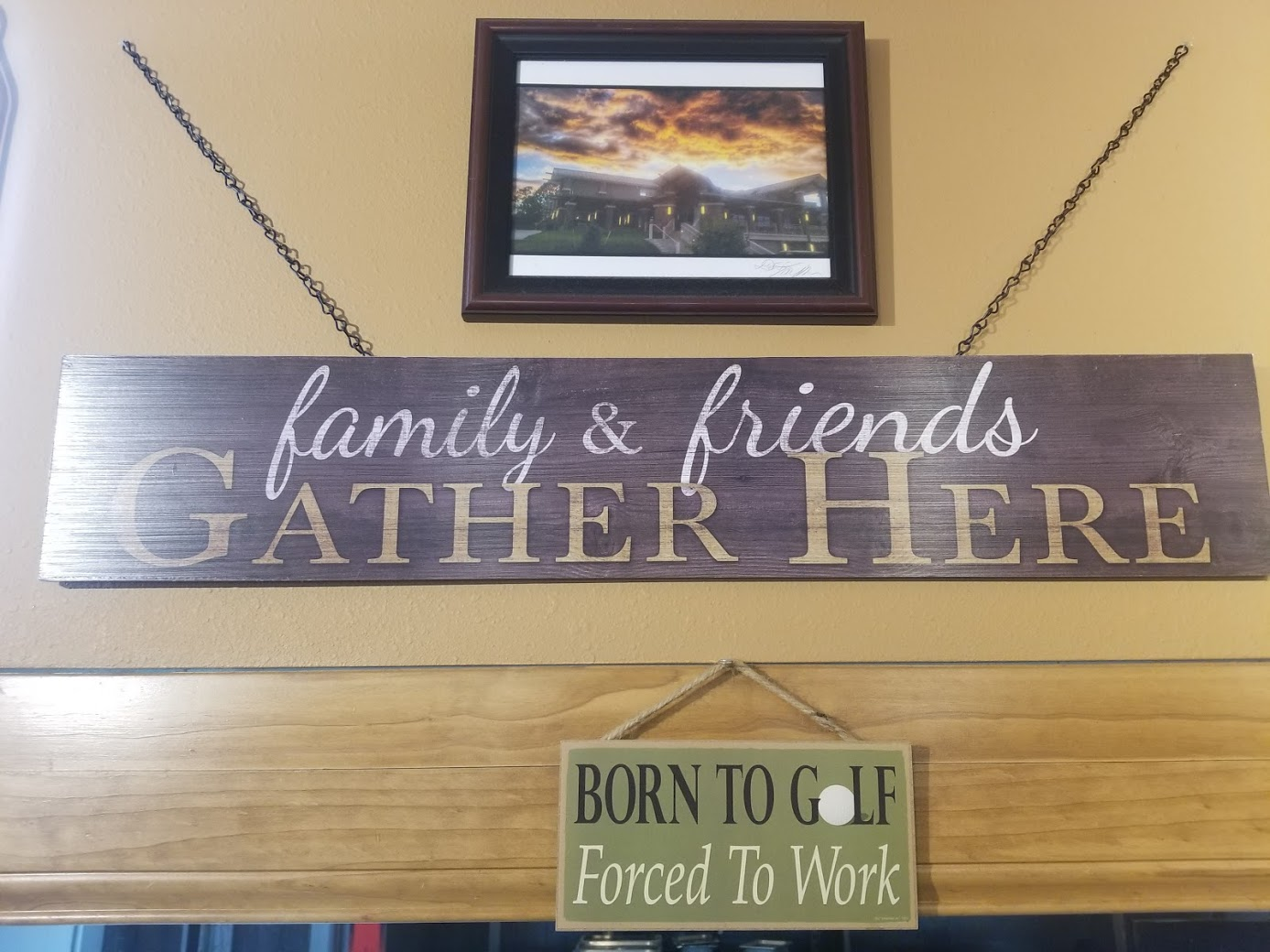 """a sign that says """"family & friends gathere"""""""