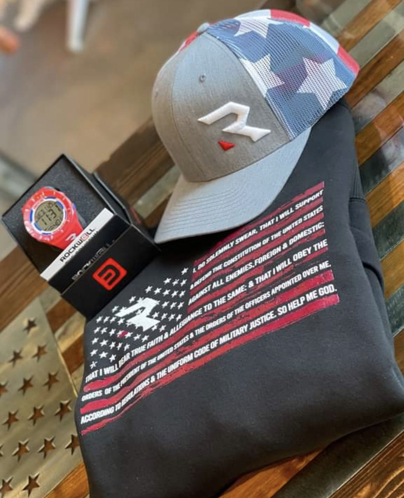 Redemption watch, cap, and shirt
