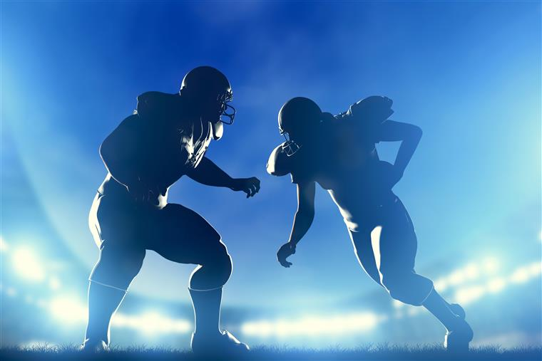 football players in an arena