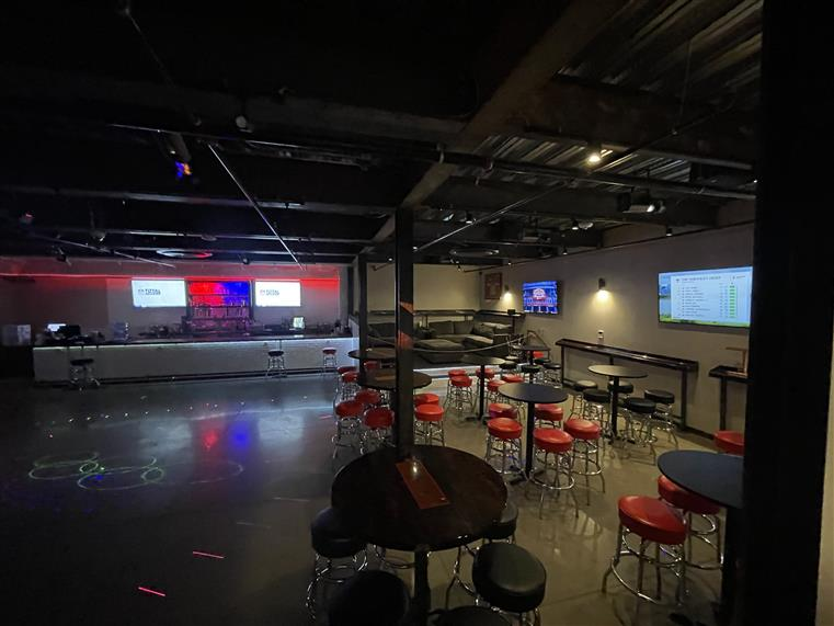 dance floor and seating in club redemption