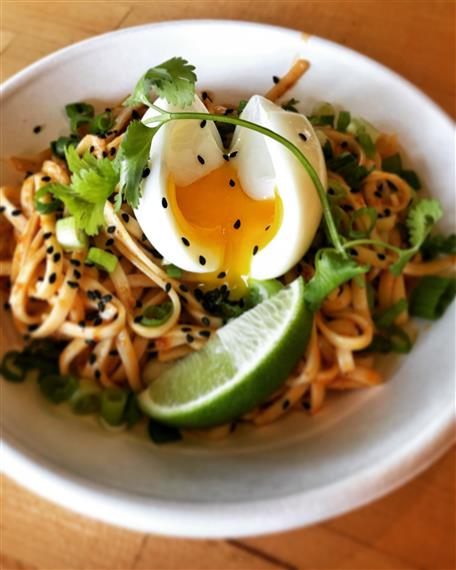 Extremely Spicy Breakfast Noodles in a bowl