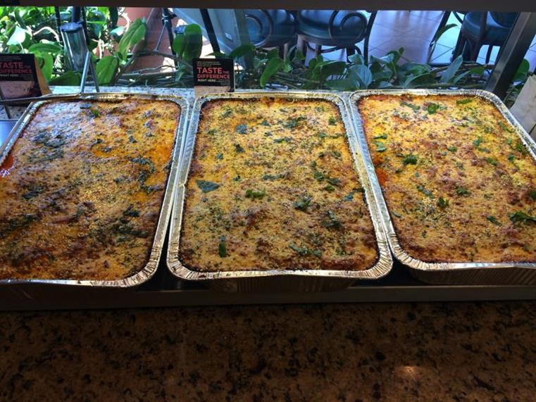 3 pasta catering trays