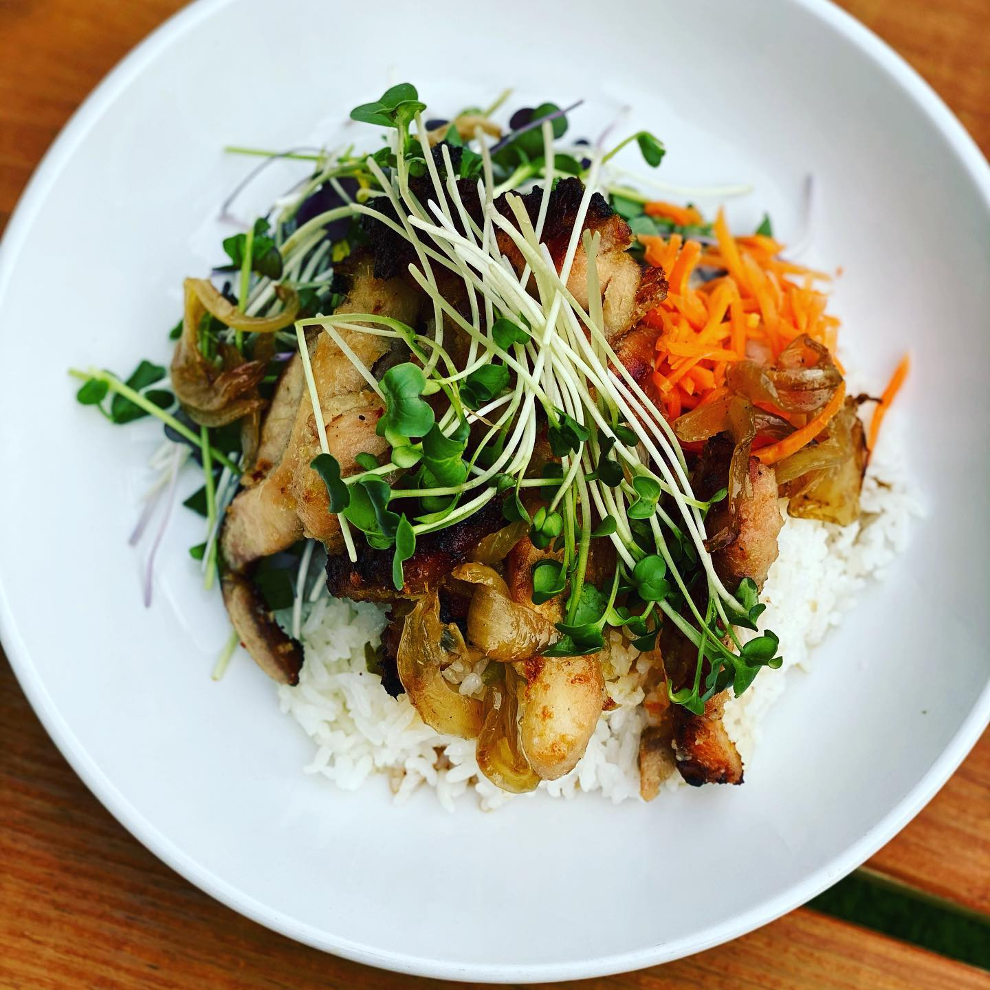 Grilled Lemongrass Chicken with Hot Steamy Rice, Pickled Vegetables & Microgreens