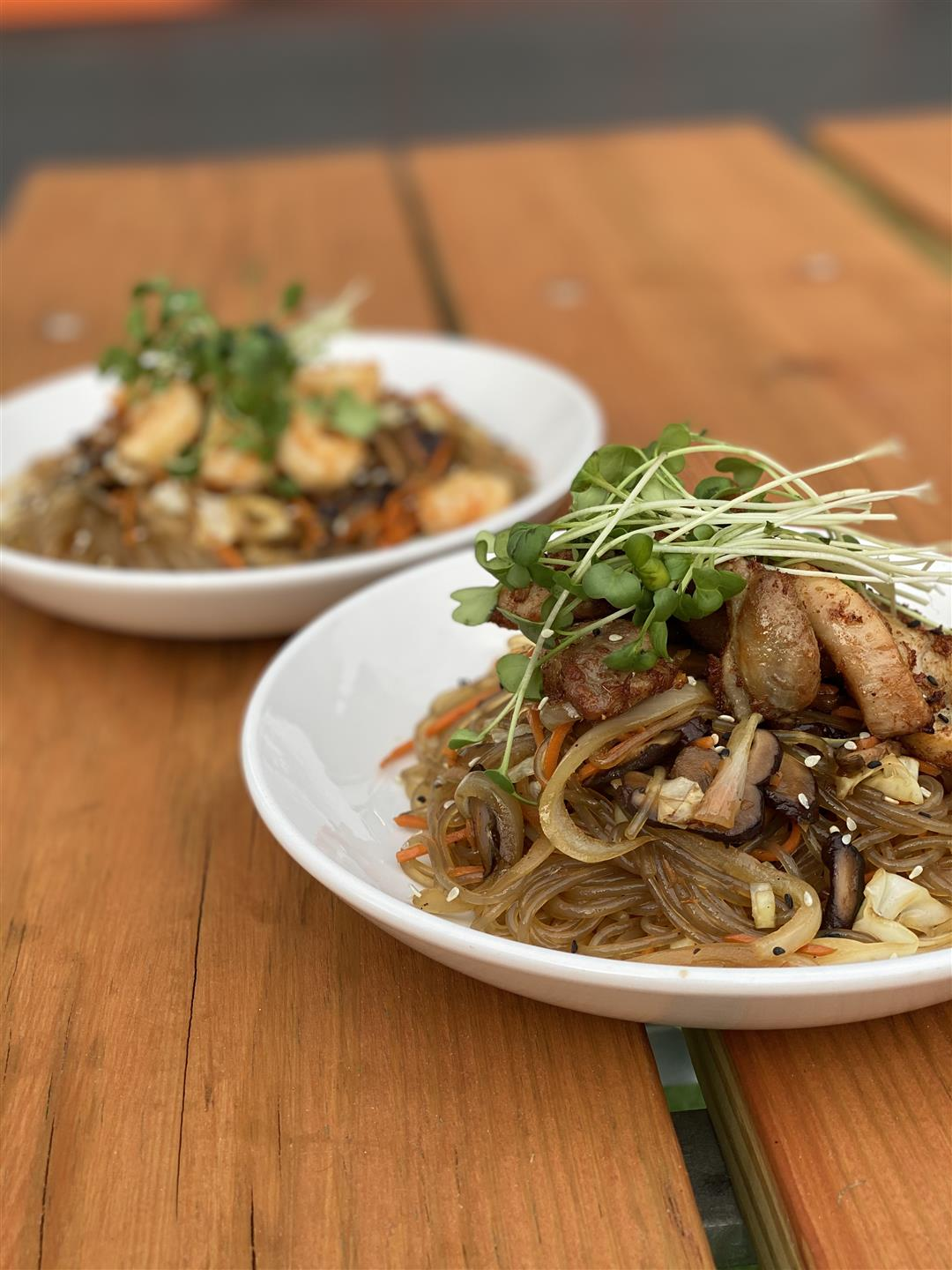 Two Bowls of Korean Noodle Stirfry