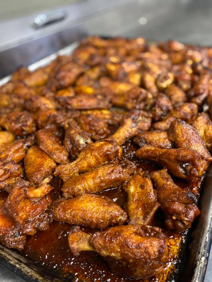 assorted buffalo wings on a tray