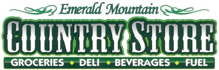 emerald mountain country store. groceries, deli, beverages, fuel.