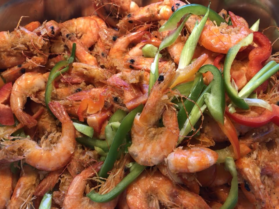 seasoned shrimp with bell peppers