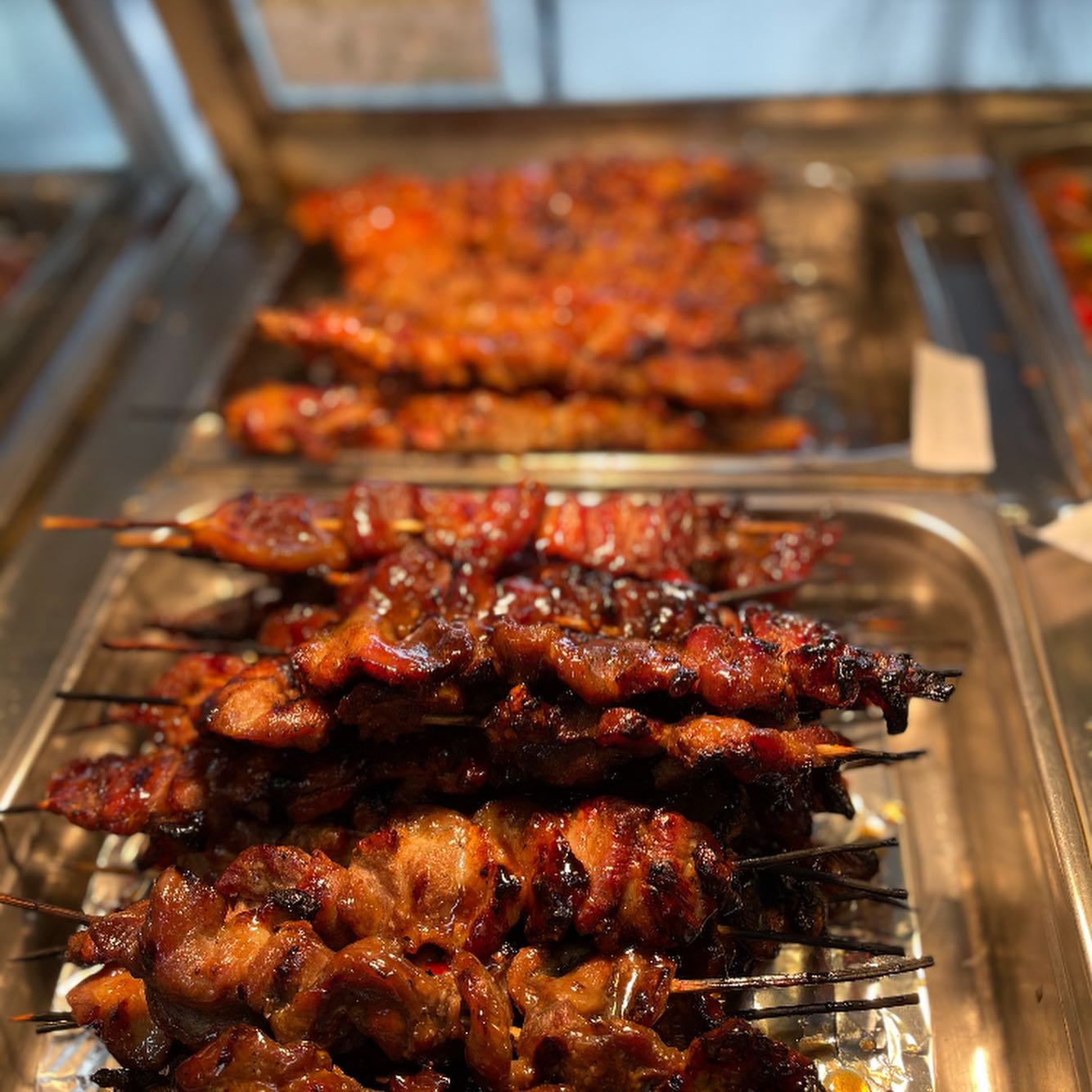 beef and chicken on a stick