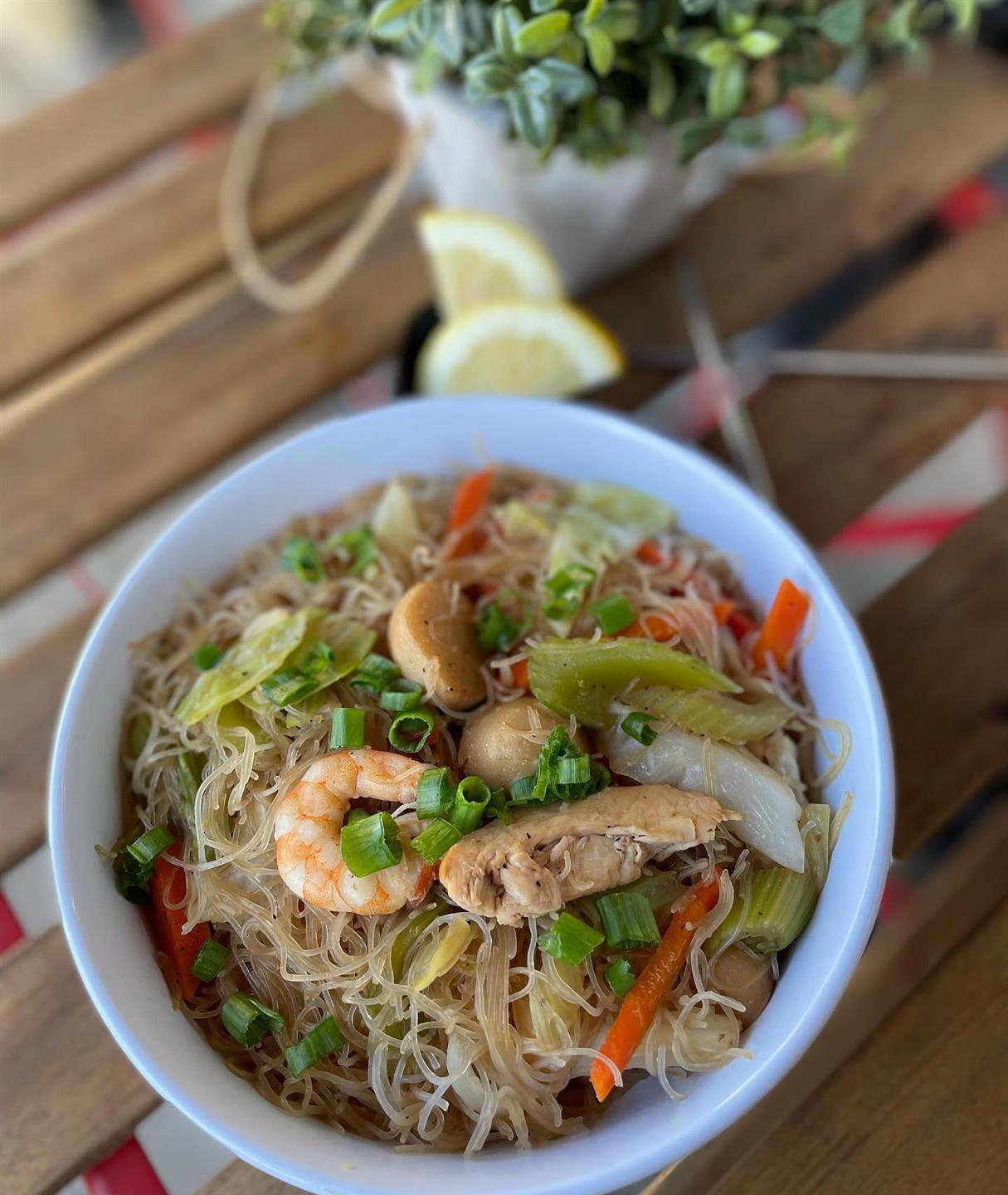 shrimp and vegetables in a thin rice noodle