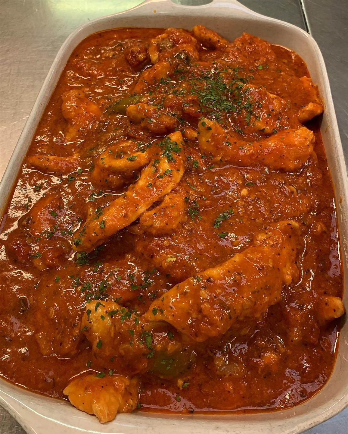 chicken and vegetables in a tomato sauce