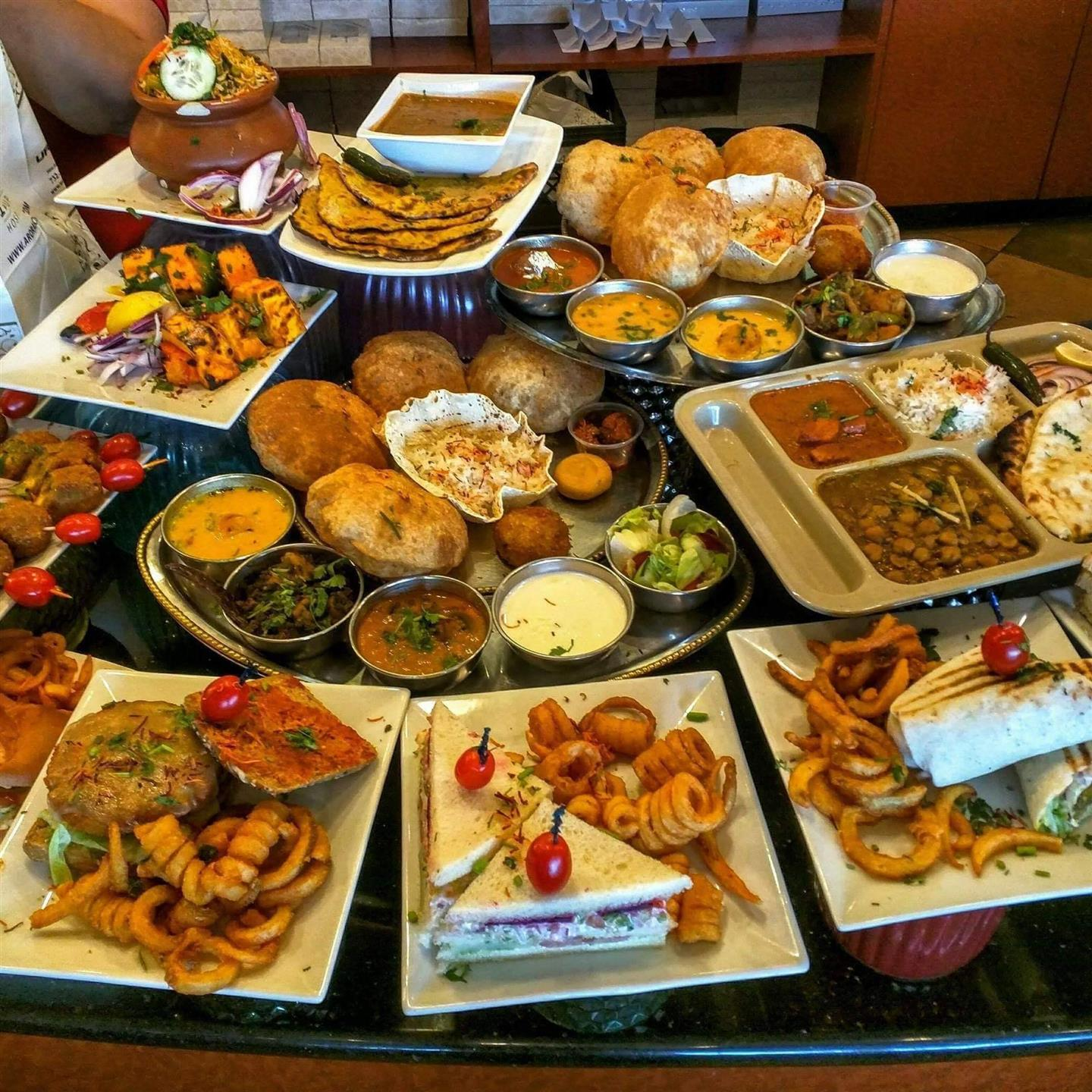 an assortment of dishes on a table