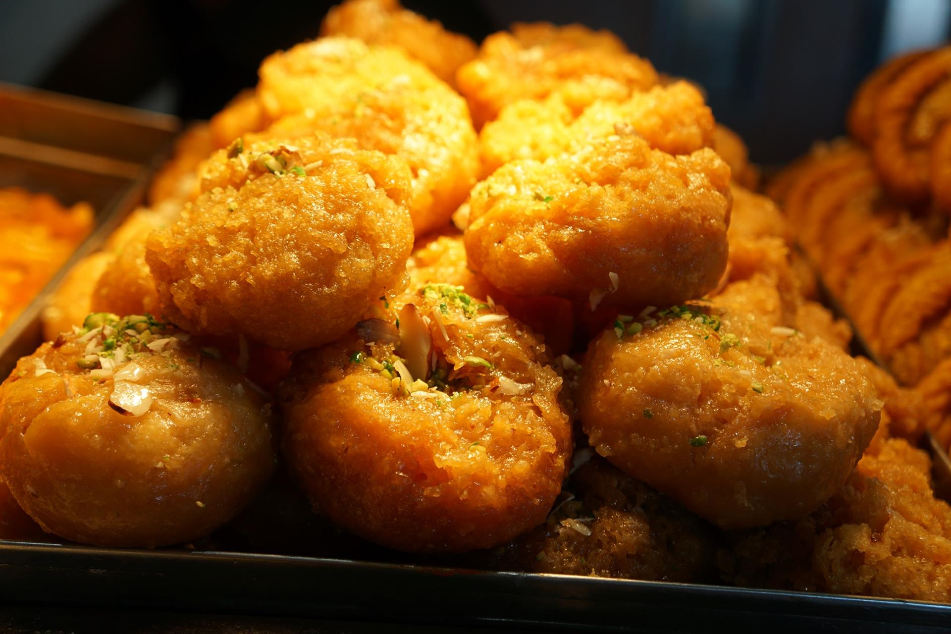 Flaky flour puffs filled with caramelized onions and spices