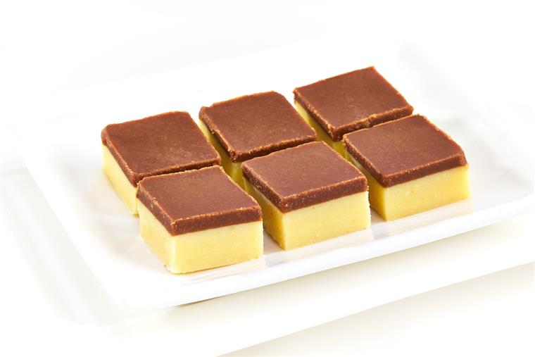 assortment of solidified milk fudge amply topped with a layer of chocolate