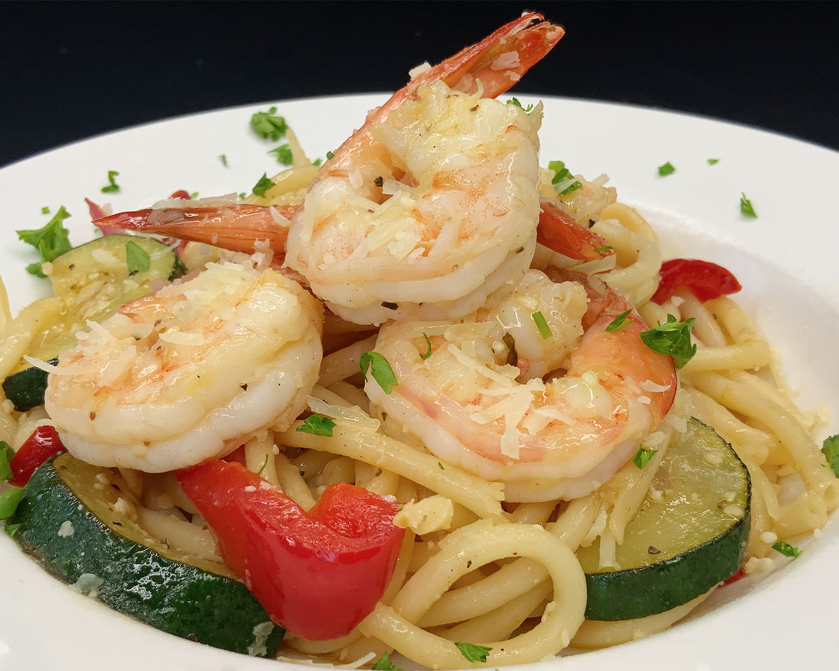 shrimp scampi: Vegetables in Scampi