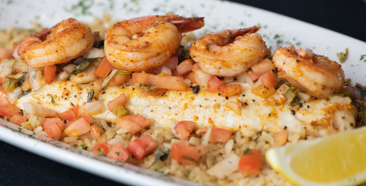 Grilled Walleye with Shrimp & Zesty Home Made Pico De Gallo: Shrimp sautéed in White Wine and Garlic, Brown Rice, Pico De Gallo as Vegetable