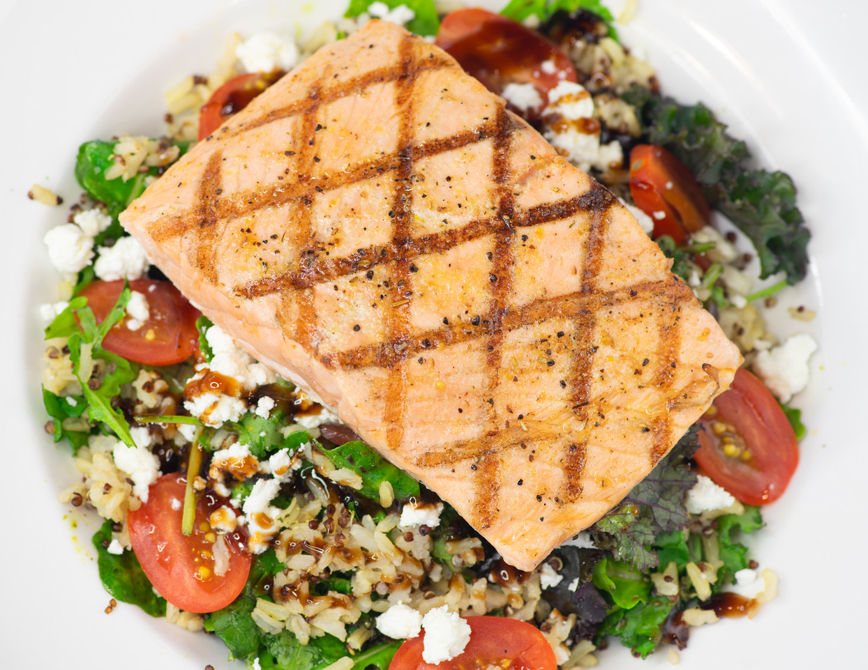 Kale Pesto Salmon, Brown Rice, Quinoa, Goat Cheese, Baby Kale, Tomatoes, Balsamic Glaze