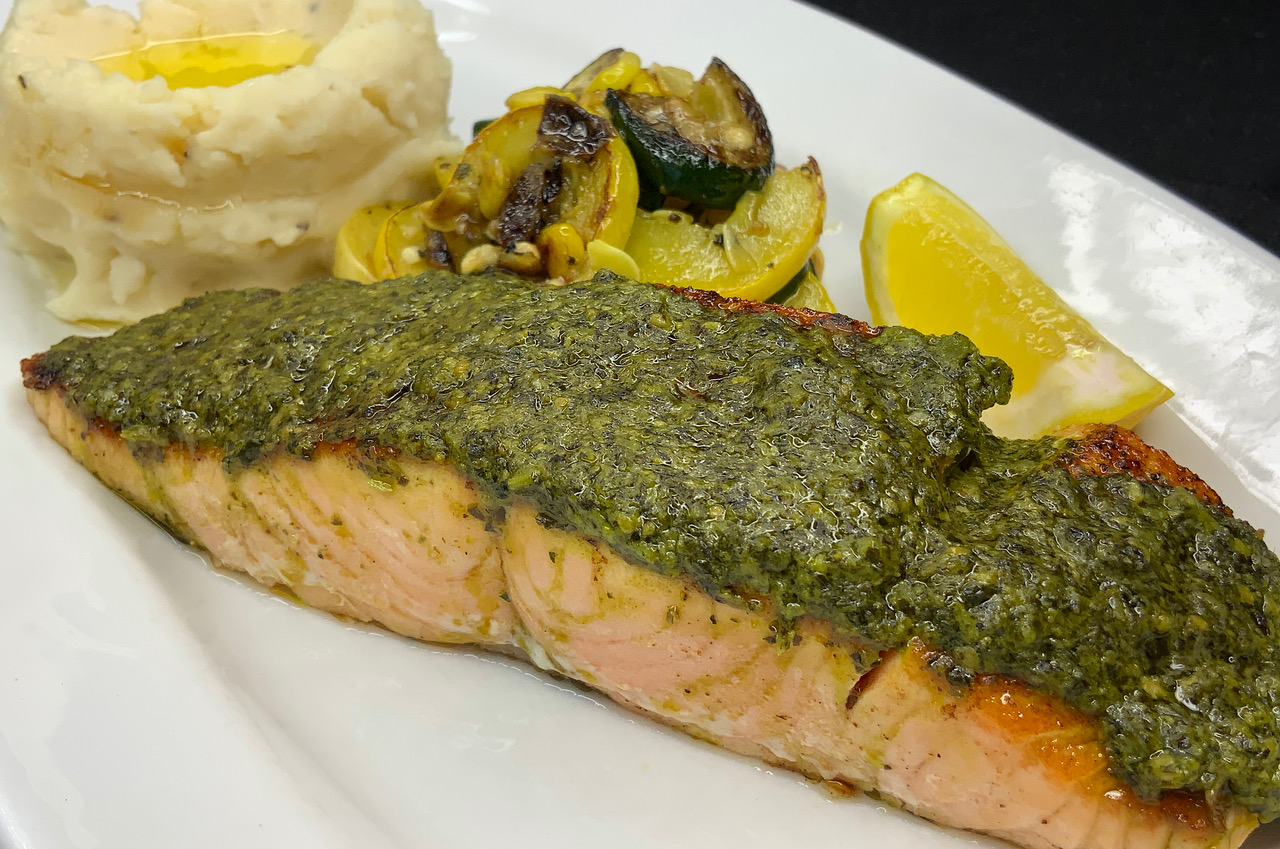 Pesto Crusted Salmon with Garlic Mashed Potatoes and veggies