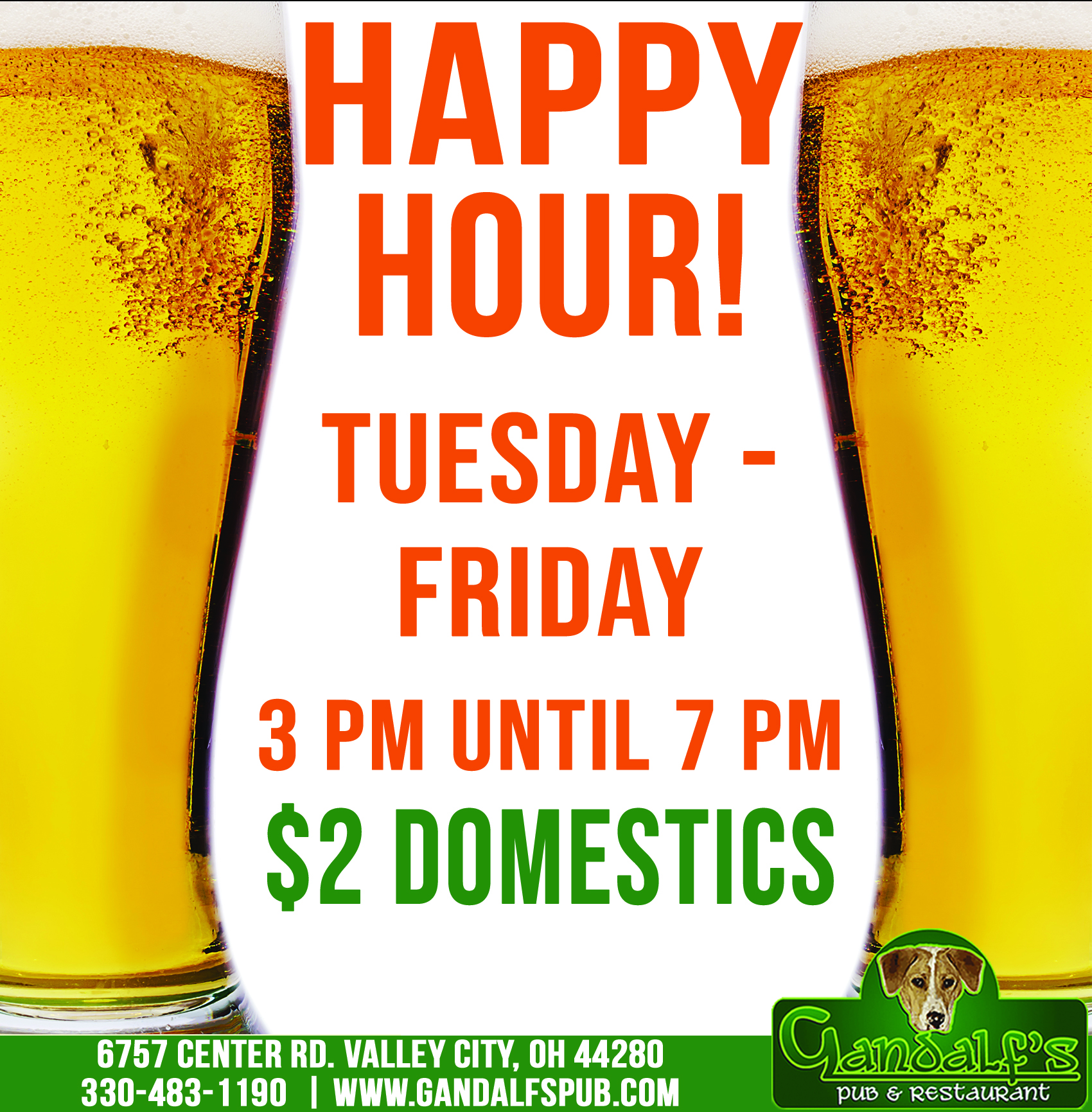 Happy hour! Tuesday-Friday 3pm until 7 pm $2 domestics 6757 center rd. valley city oh 44280 330-483-1190