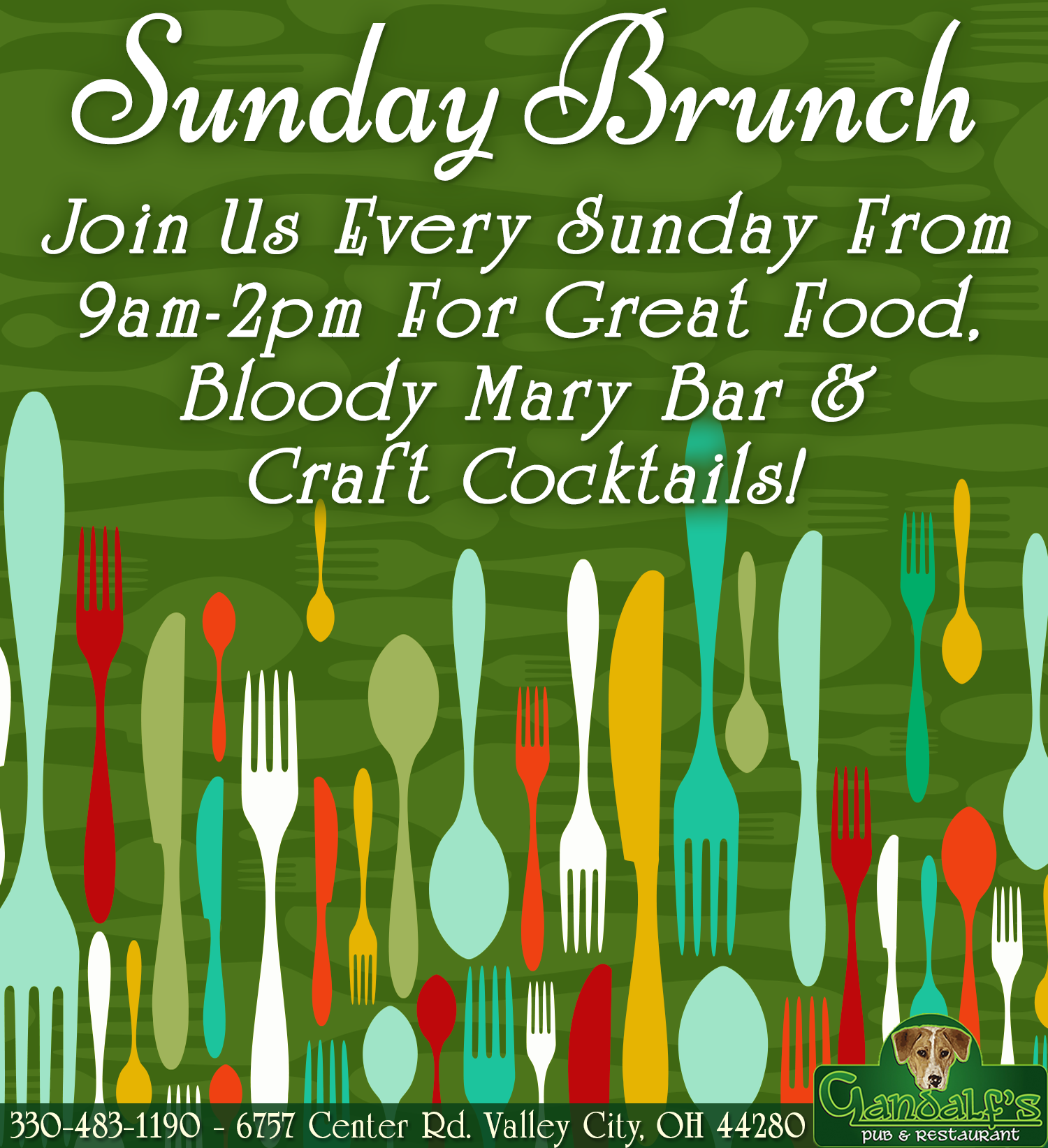 Sunday Brunch! Join us every sunday from 9am-2pm for great food, bloody mary bar & craft cocktails! 6757 center rd. valley city oh 44280 330-483-1190