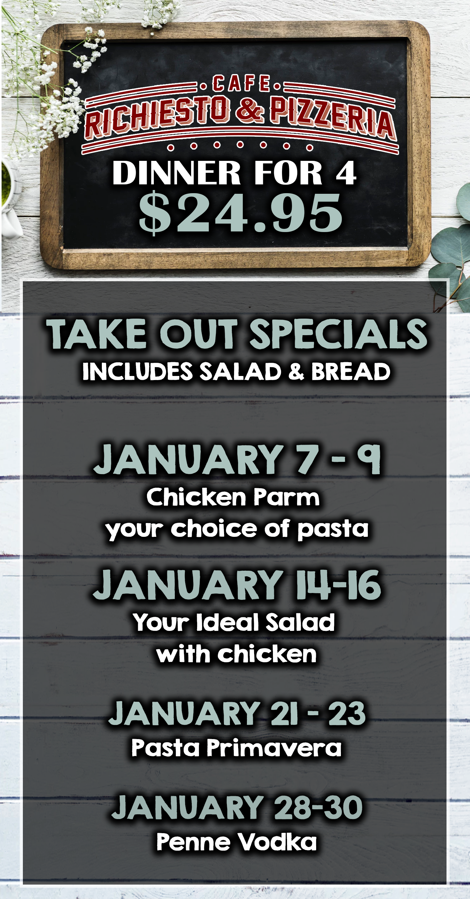 take out dinner for 4 $24.95