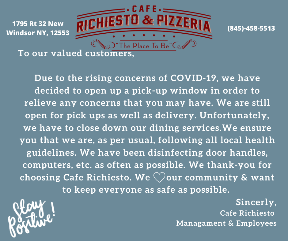 To our valued customers, Due to the rising concerns of COVID-19, we have decided to open up a pick-up window in order to relieve any concerns that you may have. We are still open for dine-in as well as delivery. We.png