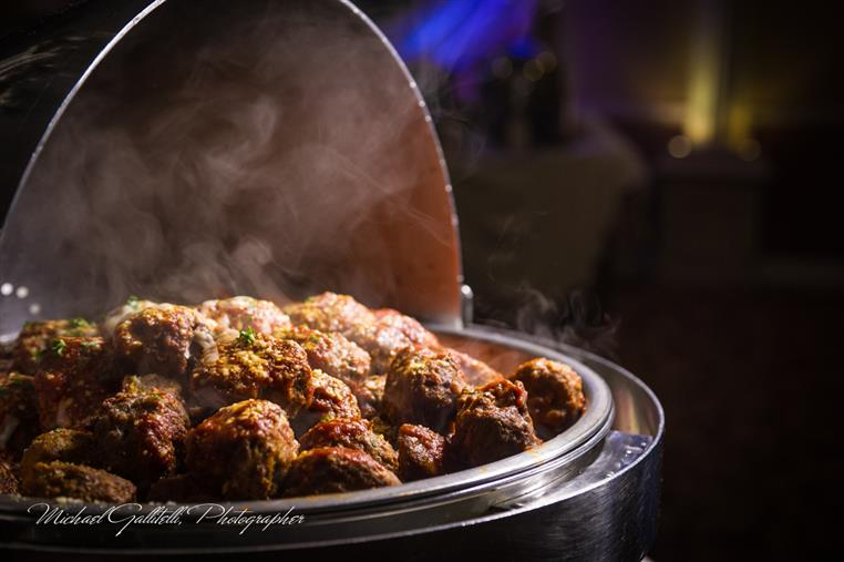 Steaming meatballs in large chafer