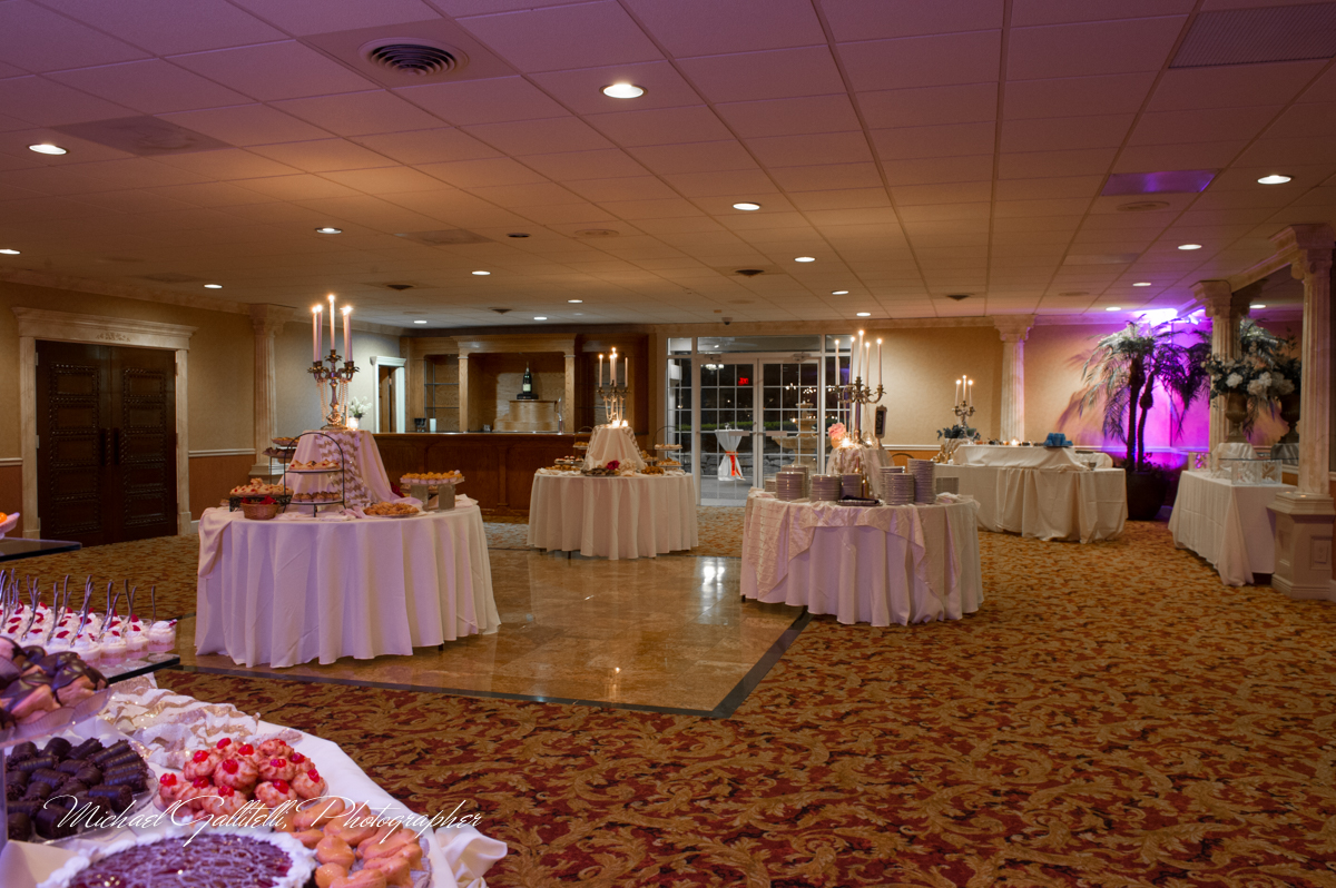 Buffet/catering tables with assorted desserts in banquet room