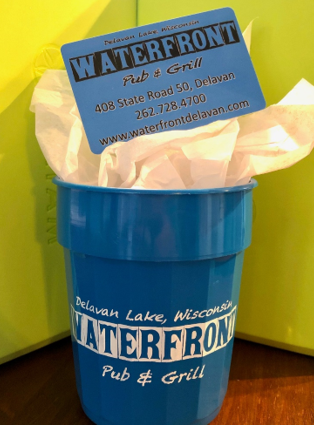 Waterfront giftcard in a Waterfront cup