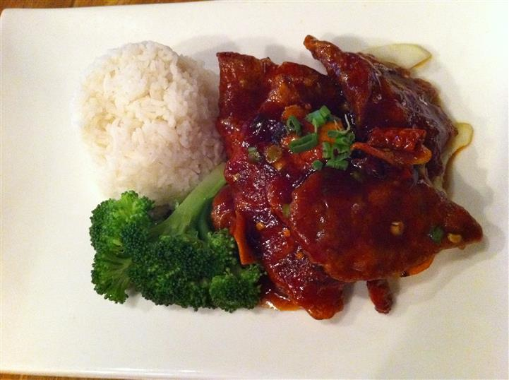 meat dish with side of rice and broccoli
