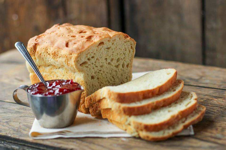 baked bread with a side of jam