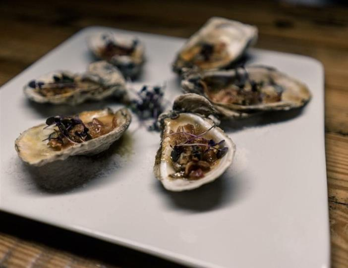 oysters on the half shell on a plate