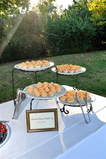 outdoor catering setting with a mini buffet