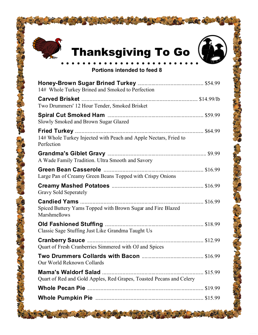 Thanksgiving To-Go 2018