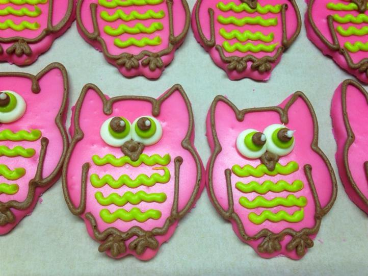 pink covered cookies in owl shape with chocolate, white and green decoration