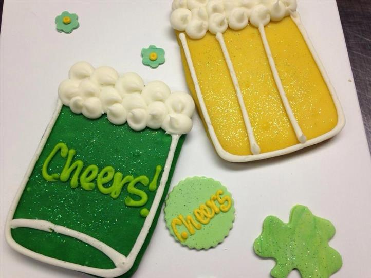 Sugar cookies in the shape of beer mugs