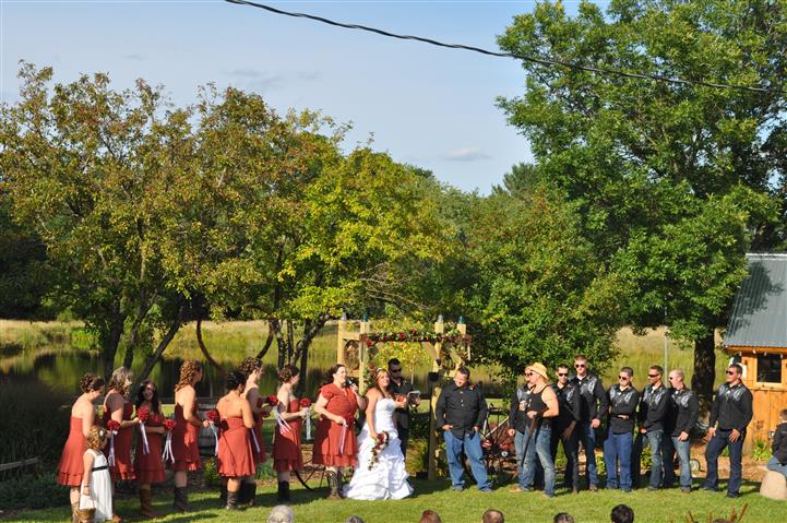 a themed wedding celebration, with people in costume