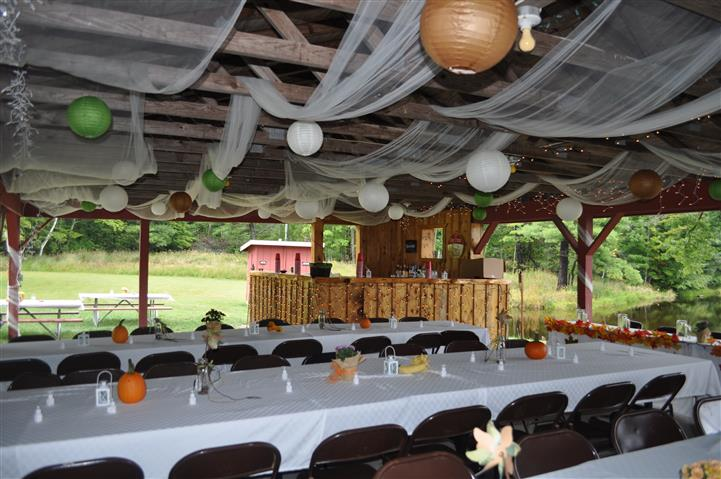 outside dining area, with pumpkin decorations