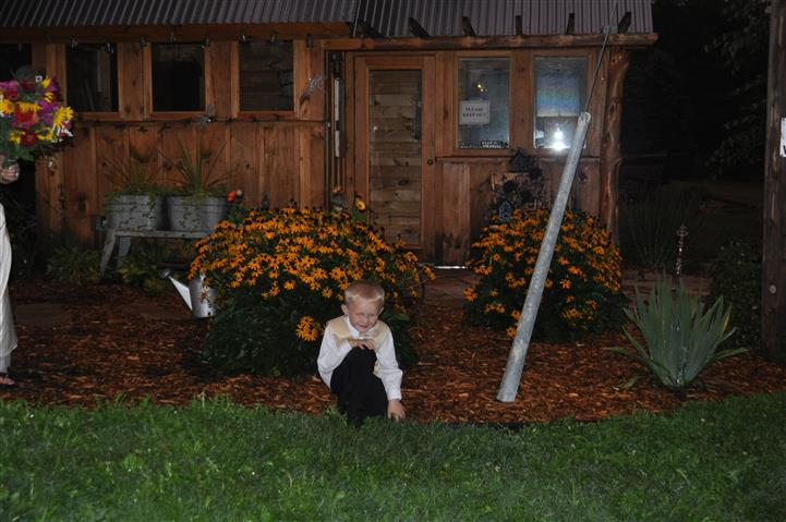 a child in the garden at night