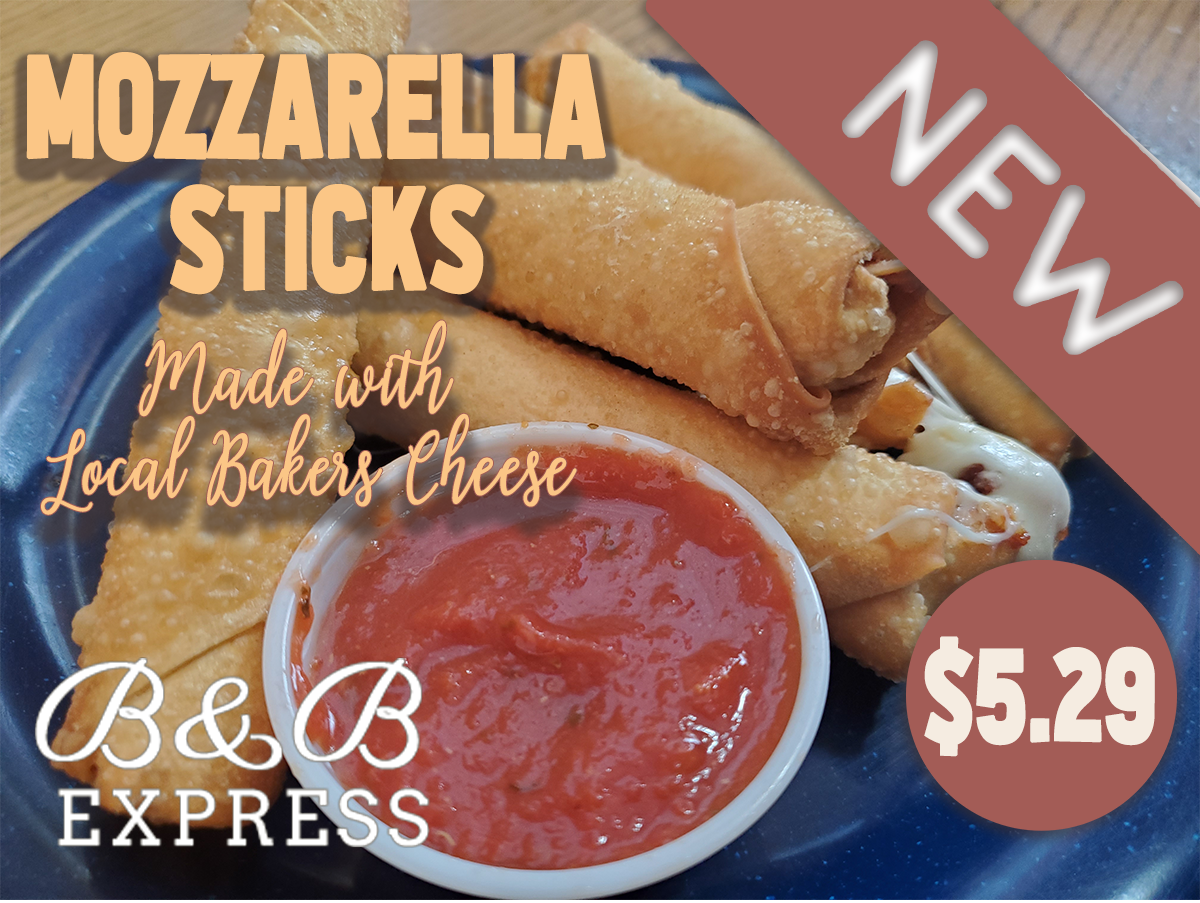 NEW Mozzarella Sticks Made with Local Bakers Cheese $5.29