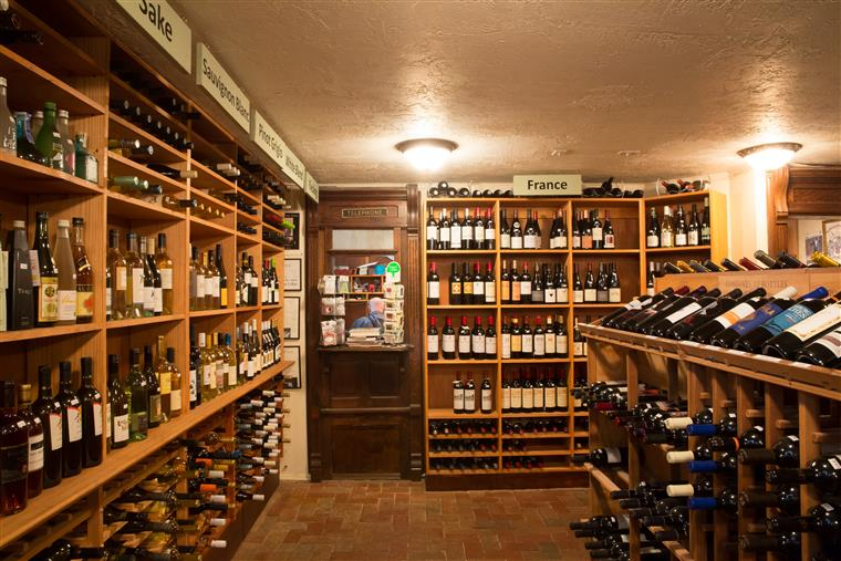 wine cellar with a large amount of wine bottles