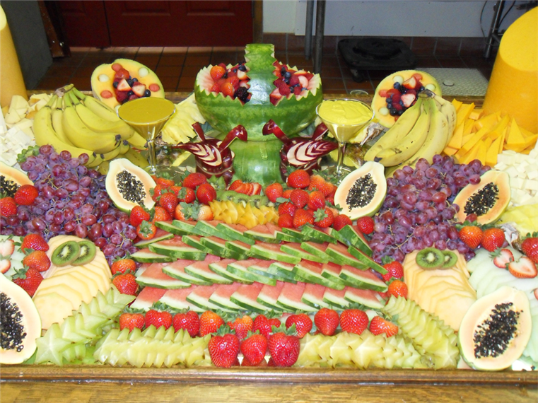 catering table with various  fruit
