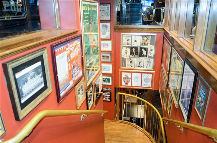 Staircase with memorabilia on the walls